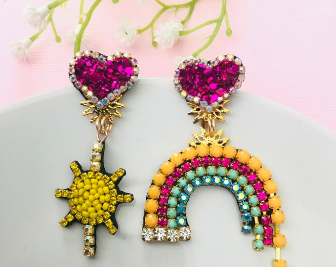 Rhinestone rainbow mismatched earrings, statement earrings, rainbow & sun earrings, kawaii earrings, pink heart earrings, edgy earrings
