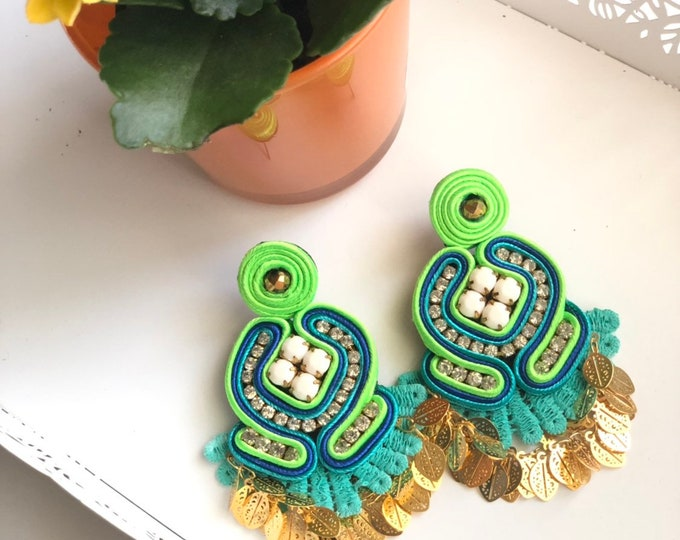 Blue and green Soutache earrings. Handmade. Statement earrings.