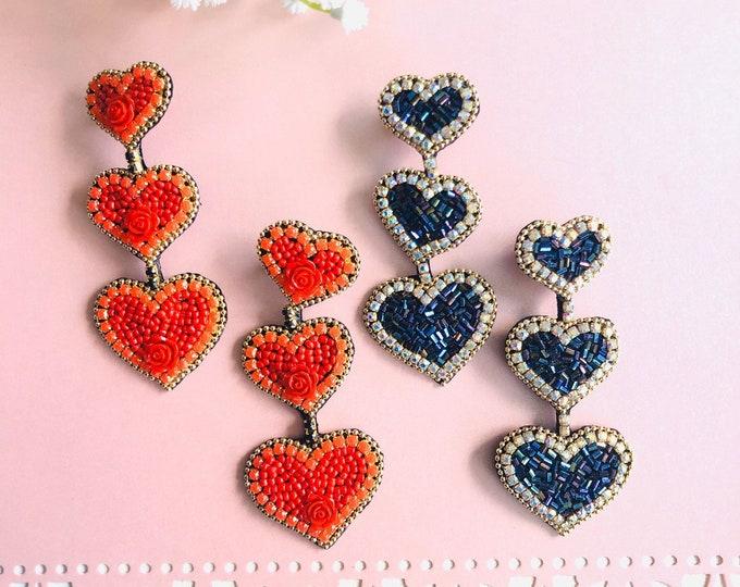 Red Heart earrings, big heart earrings, black heart earrings, handmade statement earrings, wanderlust earrings, seed bead earrings