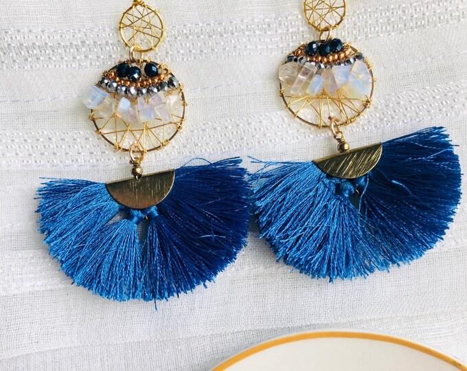 Beaded wire tassel earrings, blue tassel earrings, moonstone dreamcatcher earrings, gemstone earrings, wire wrapped earrings