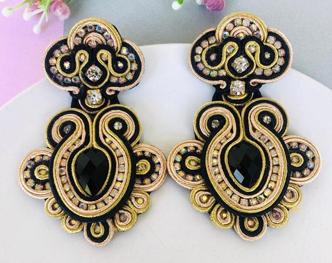 Handmade Soutache earring, soutache jewelry, Statement earrings, stunning earrings, wanderlust earrings, soutache earrings