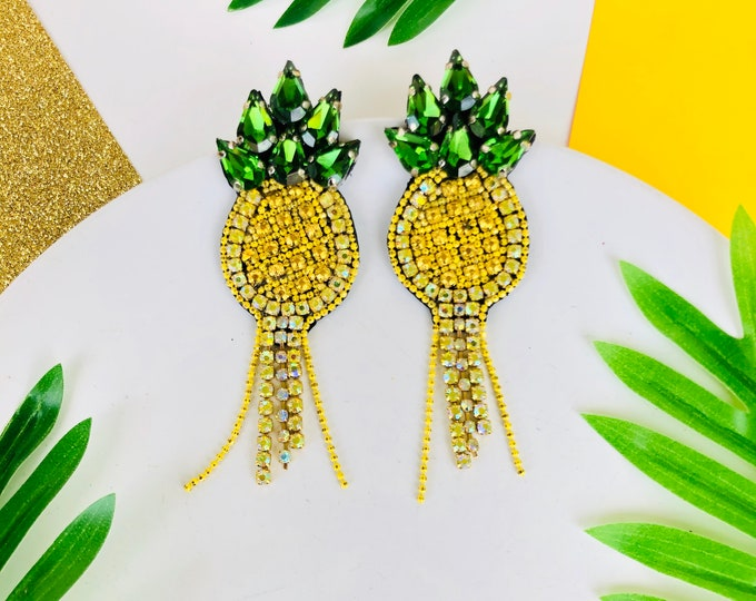 Big Pineapple earrings, statement earrings for summer, fruit earrings, handmade beaded earrings, seed bead earrings, funny earrings