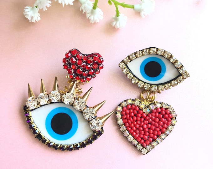 Heart and spike Evil eye earring, spike earrings,  statement earrings, mismatched earrings, Asymmetric earrings, edgy earrings