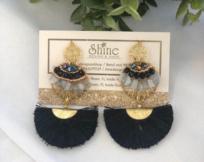 Wire earrings. Black tassel earrings. Natural stone earrings. Handmade. Statement