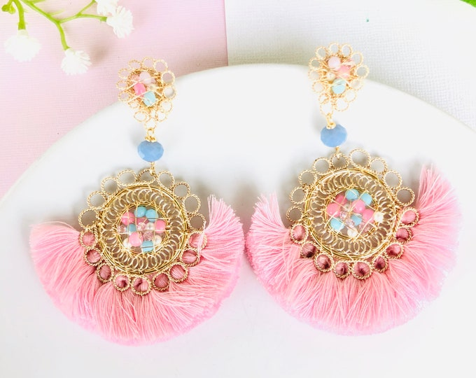 Wire Tassel Earrings,  beaded fringe earrings, pink tassel earrings, stunning earrings, delicate earrings dangle, wanderlust jewelry