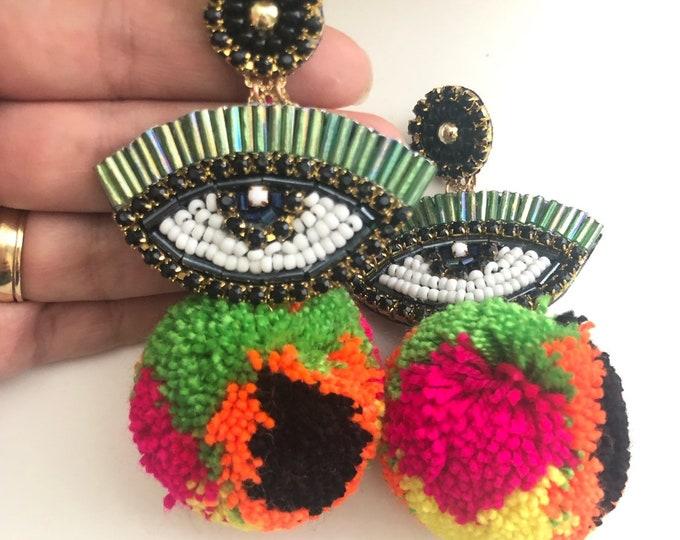 Handmade evil eye earrings