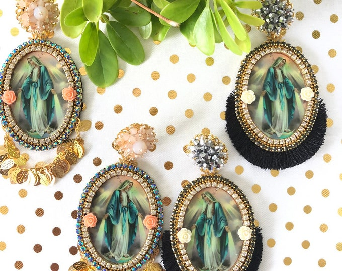 Handmade Virgin Mary earrings