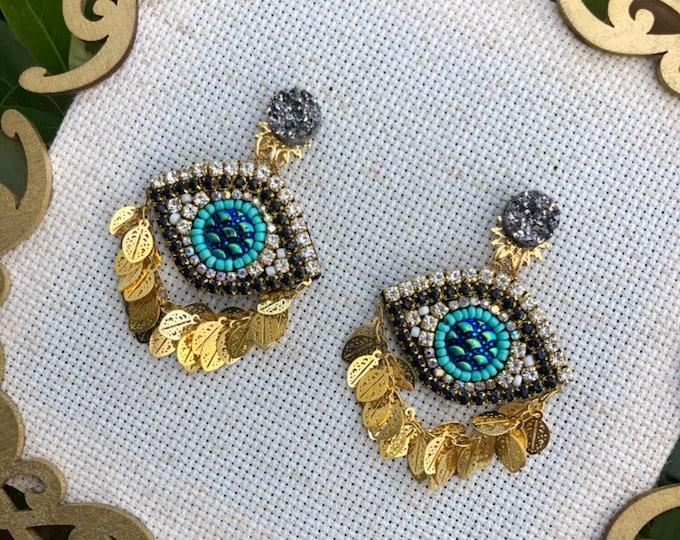 Luxury evil eye earrings