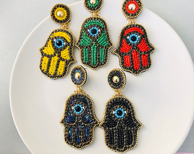 Beaded Hamsa earrings, evil eye earring, protection earrings, stunning earrings, seed bead earrings, evil eye charm, chunky big earrings