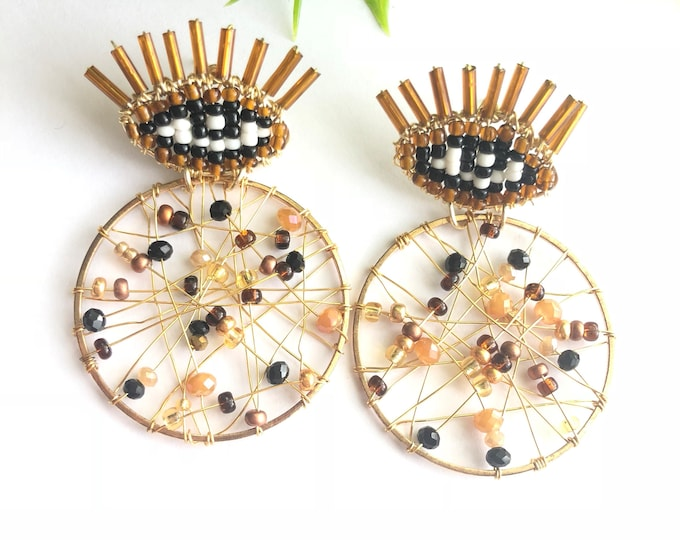 evil eye earrings silver wire with gold plating, handmade
