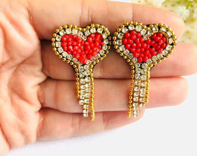 Studs heart earrings, beaded stud earrings, mini heart earrings, wanderlust jewelry, minimalist earrings, red heart earrings
