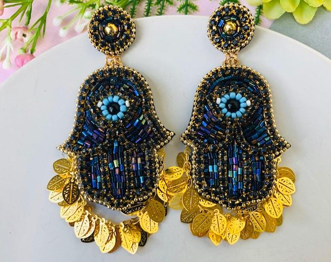 Beaded Hamsa earrings, evil eye earring, stunning evil eye earrings, seed bead fringe earrings, simple chain earrings, protection earrings