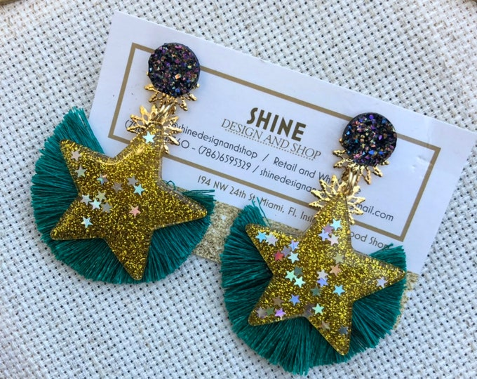 Handmade star earrings with teal tassel