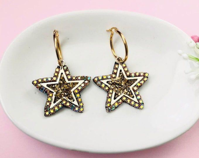 Stainless steel star hoops earrings, chunky hoops, handmade statement earrings, boho jewelry, galaxy jewelry, starburst earrings