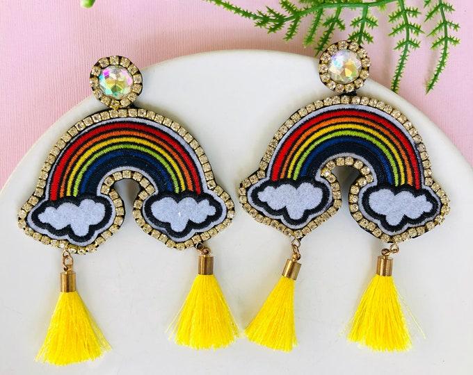 Rainbow fringe earrings, pride earrings, yellow tassel earrings, statement earrings, rainbow earrings, funny earrings
