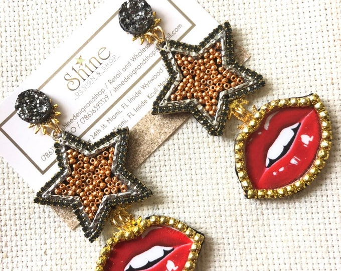 Handmade star/mouth earrings