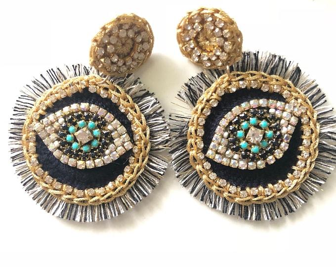 Large woven earring. Handmade earrings. Statement. Evil eye earrings. Black earrings.