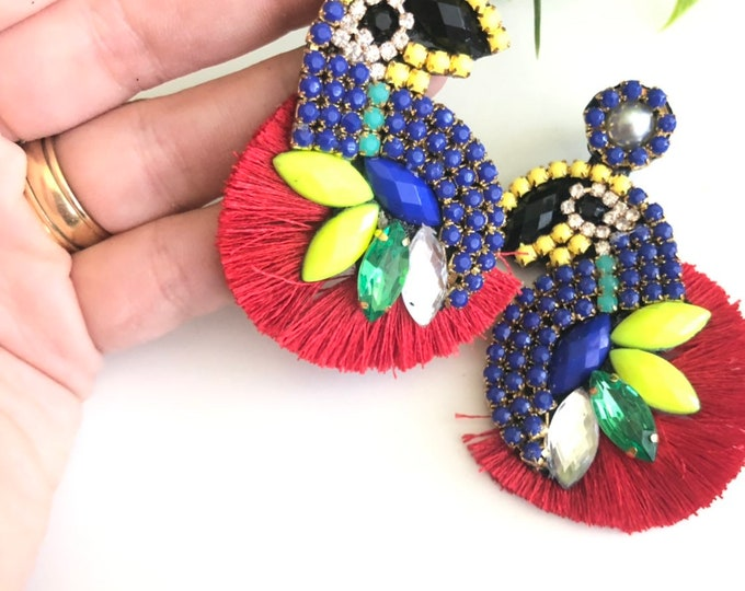 Parrots earrings, summer earrings, tropical earrings, handmade earrings, statement earrings.