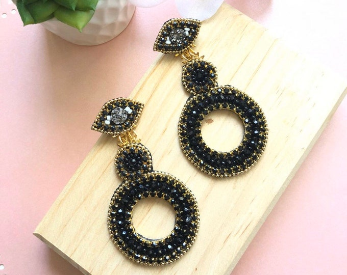 Black earrings, handmade earrings, evil eye earrings, statement earrings, light earrings, fashion.
