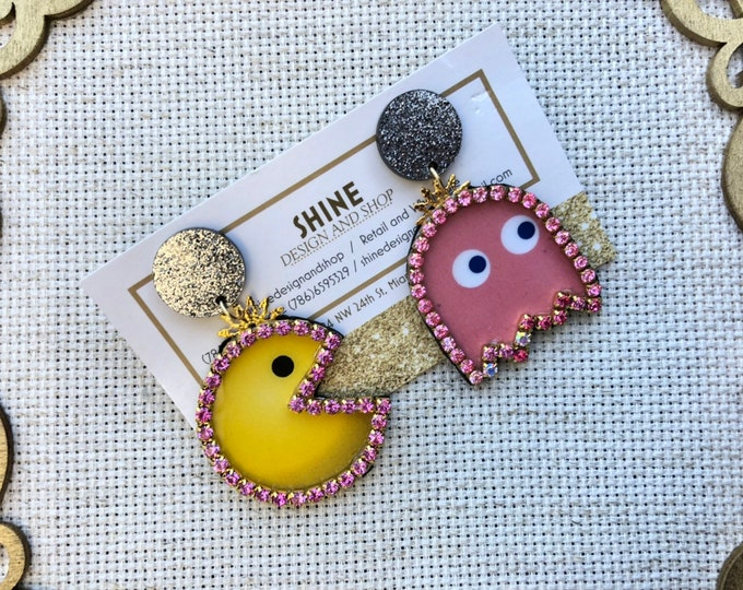 Handmade pacman/ghost earrings