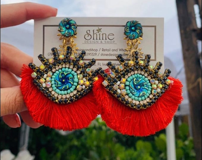 Handmade evil eye earrings