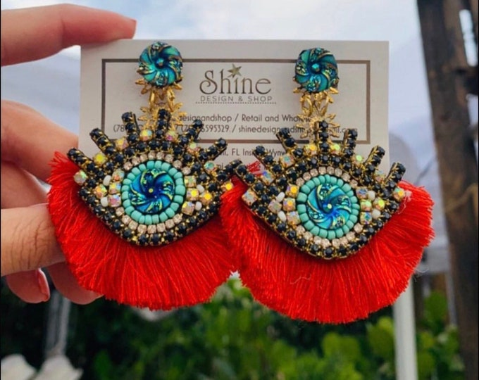 Handmade evil eye earrings. Red tassel earrings. Statement jewelry.