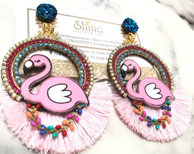 Flamingo earrings. Handmade. Statement earrings. Bold jewelry.