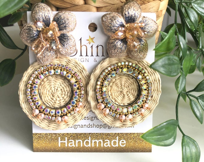 Handmade flower earrings. Palm earrings. Pearl earrings. Statement