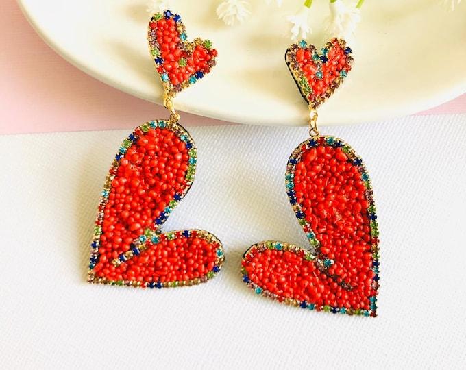 Red Heart earrings, big heart earrings, handmade statement earrings, stunning earrings, oversized earrings, wanderlust earrings