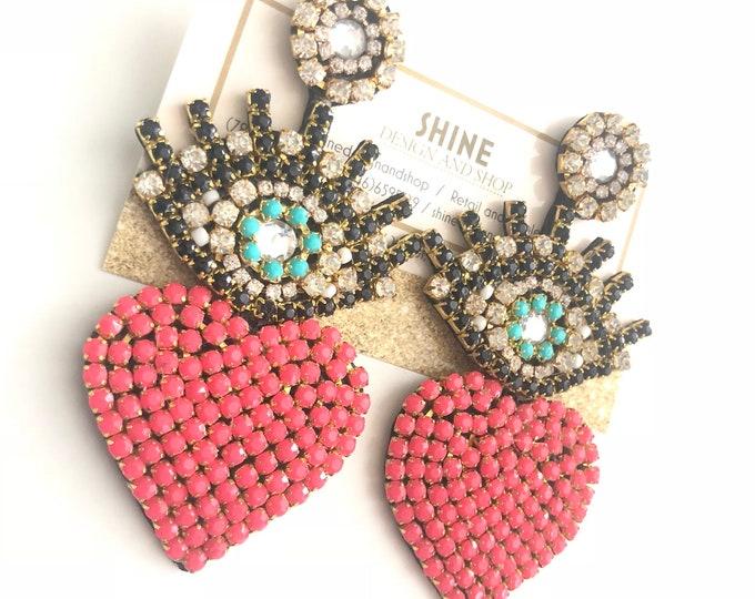 Evil Eye and Heart Earrings Handmade
