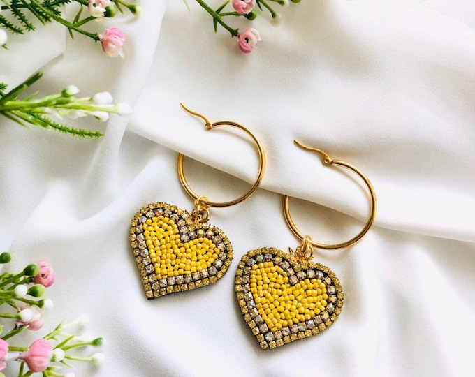 Yellow heart hoop earrings, Dainty hoop earrings, heart earrings, charm hoop earrings, tiny hoop earrings, stunning earrings