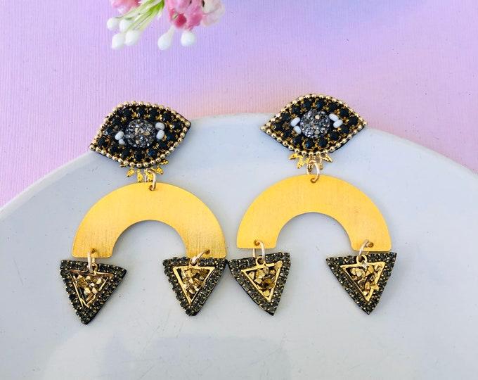 Evil eye earring, geometric earrings, dainty evil eye earrings, handmade statement earrings,stunning earrings, turkish eye earrings