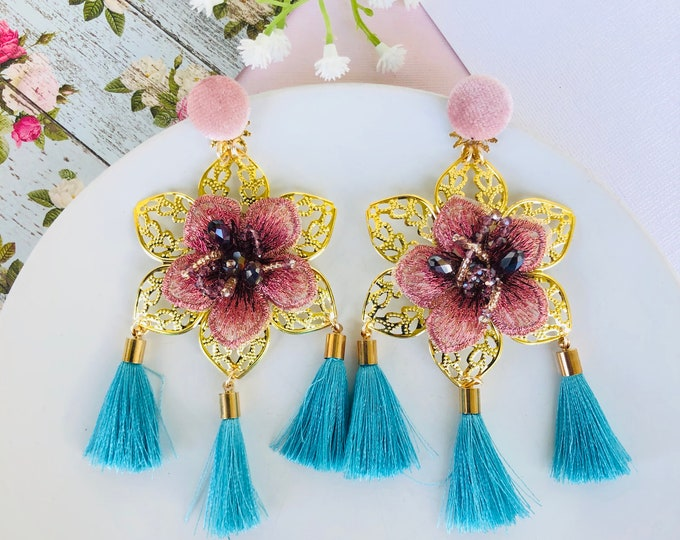 Big Flower Earrings, pink floral earrings, blue tassel earrings, delicate dangle earrings, dainty flower gold earrings, statement earrings
