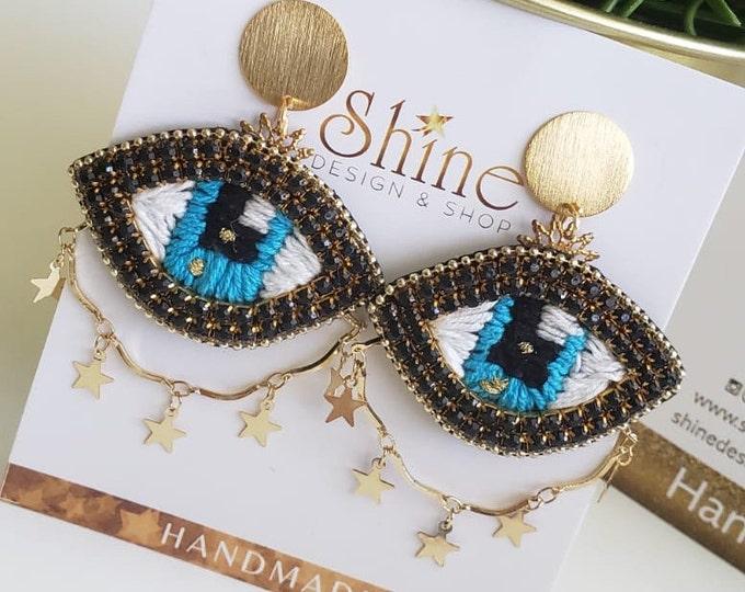 Evil eye earring, protection earrings, stunning eaarings, embroidered eye earrings, statement earrings, star earrings