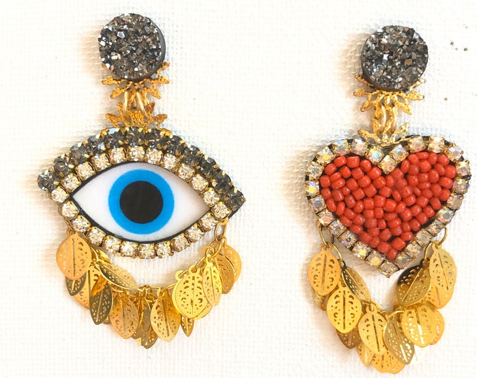 Evil eye and heart earrings. Mix and match earrings. Statement earrings. Handmade.