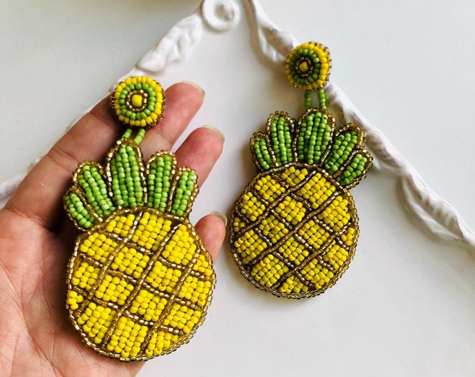Chunky Pineapple earrings, beaded fruit earrings, chubby earrings, statement earrings, seed bead earrings, edgy earrings