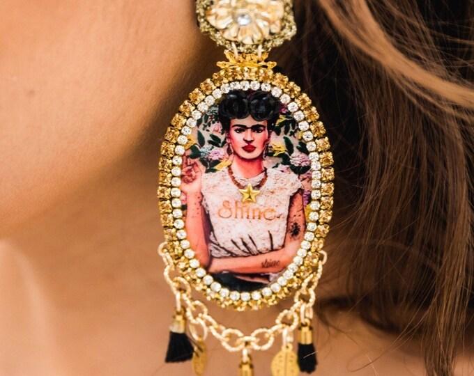 Frida Kahlo Earrings, statement earrings, Bold earrings, stunning earrings, Tassel earrings, frida jewelry, wanderlust earrings