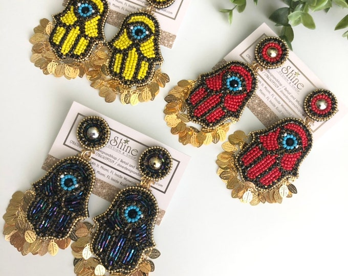 Handmade earrings. Hamsa earrings. Hand of God earrings. Statement.