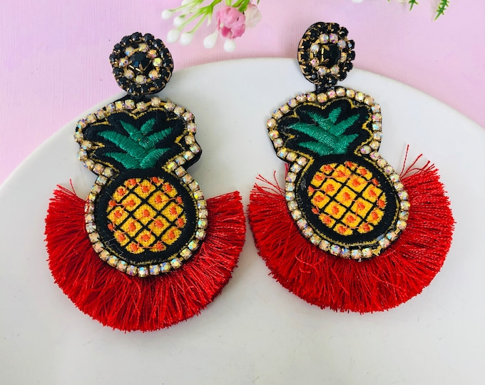 Pineapple earrings, red tassel earrings, fruit earrings for summer, handmade statement earrings, funny earrings, tropical earrings