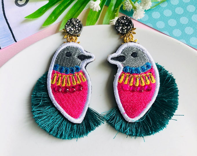 Embroidery bird earrings, blue tassel earrings, statement earrings for summer, funny earrings, edgy earrings, tropical earrings