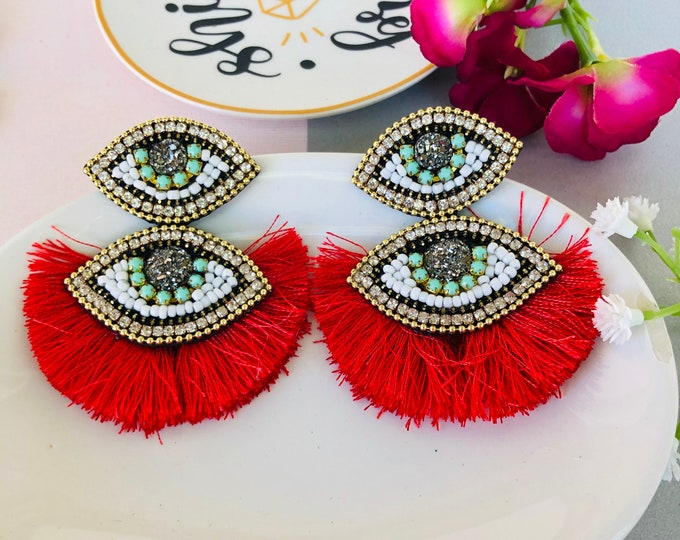 Beaded Evil eye earring, statement earrings, red tassel earrings, dainty evil eye charm, protection earrings, turkish eye earrings