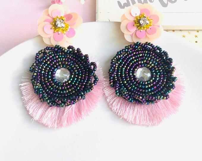 Handmade beaded earrings, Pink tassel earrings, Statement earrings, bohemian earrings, stunning oversized earrings, bold earrings