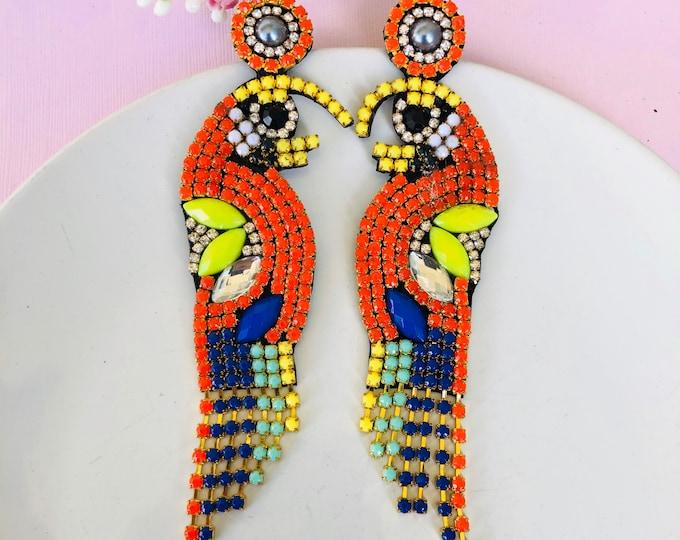 Parrots earrings, Bird earrings, handmade statement earrings, stunning earrings, funny earrings, wanderlust jewelry, edgy earrings