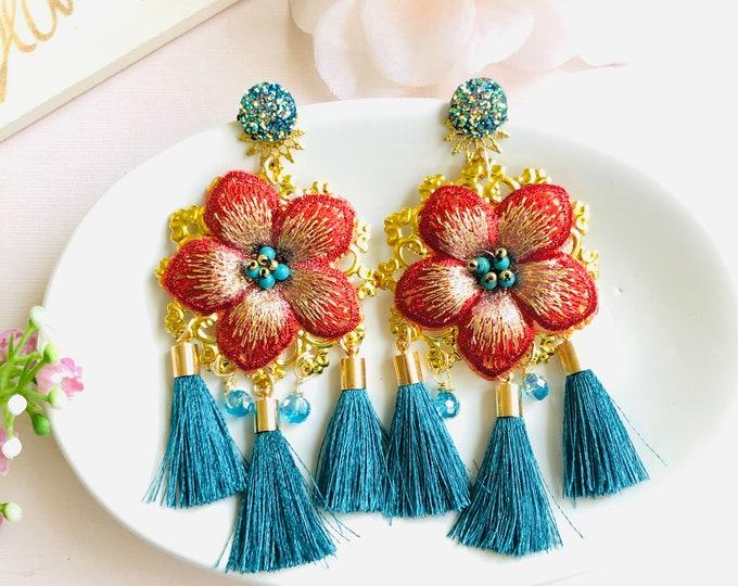 Big Flower Earrings, red floral earrings, statement earrings, blue tassel earrings, long fringe earrings, dainty flower gold earrings