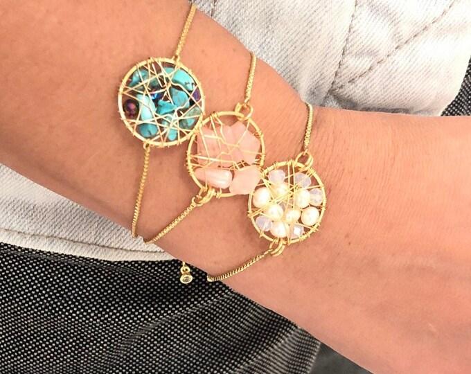 Dainty Rose quartz bracelet, beaded dreamcatcher jewelry, pearl bracelet, turquoise bracelet, dainty Gemstone Bracelet, delicate bracelet