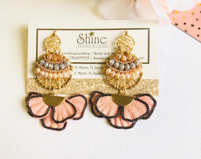 Pearls  wire earrings, Wire jewelry, Handmade earrings, Statement earrings, tassel earrings, flower earrings, crystals earrings
