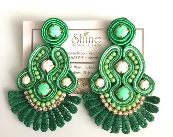 Green soutache earrings. Handmade. Statement earrings.