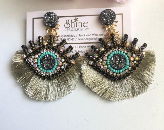Evil eye earrings