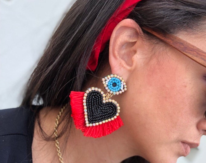 Handmade hearts earrings