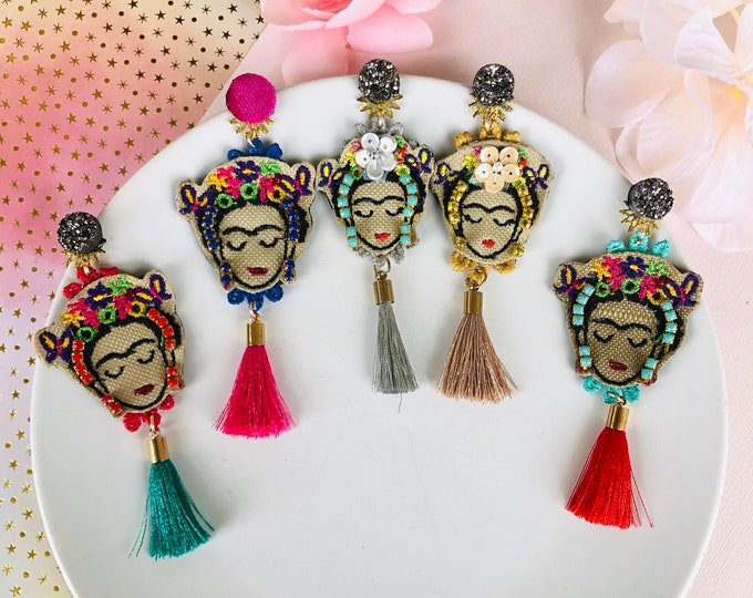 Frida Kahlo Earrings, handmade statement earrings, tassel earrings, Frida Kahlo jewelry, Small Frida earrings, stunning earrings
